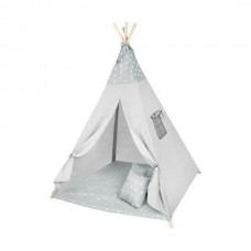 Cort copii XXL Teepee, Cort, Covoras, 3 Perne Iso Trade MY17243 Gri Stelute