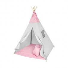 Cort copii XXL Teepee, Cort, Covoras, 3 Perne Iso Trade MY17243 Roz/Gri Stelute