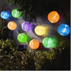 Garden of Eden - Şir 10 lampioane solare LED diferite culori, alb rece 3,7 m