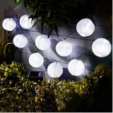 Garden of Eden - Şir 10 lampioane solare LED alb rece 3,7 m