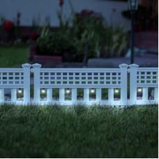 Garden of Eden - Gard solar cu LED, 58 x 36 x 3,5 cm, alb rece - 4 buc./set