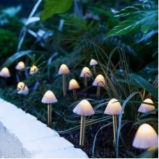 Garden of Eden - Lampă solară LED 12 buc. ciuperci mini alb cald 24 cm x 4 m