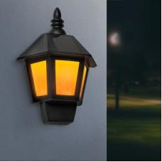 Garden of Eden - Lampă solară LED de perete 2 în 1, cu efect flacără, alb rece, 28 x 19,5 x 9,6 cm