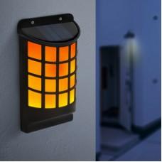 Lampă solară LED de perete, efect flăcări negru, tip grilaj 18 x 10 cm