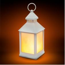 Lampă LED cu baterii, model imitaţie de flacără - alb