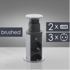Distribuitor 3 prize camuflat în mobilier, USB- metalizat-satinat