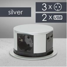 Bloc multipriza incorporabil, 3 prize + USB