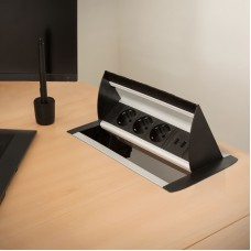 Bloc multipriză incorporabil, rabatabil 3 prize + 2 x USB, 2,1A