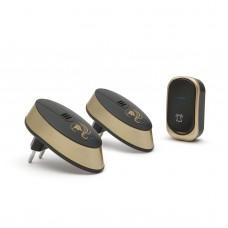 Delight - Sonerie fără fir, cu baterie, pt. exterior, cu 2 unităţi de interior, design, negru