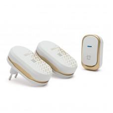 Delight - Sonerie fără fir, cu baterie pt. exterior, cu 2 unităţi de interior, design, alb