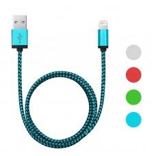 Cablu de date pt. iPhone 5/6, invelis textil, 4 culori, 1m