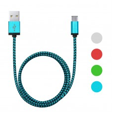 Cablu de date micro USB – invelis textil – 4 culori, 2m
