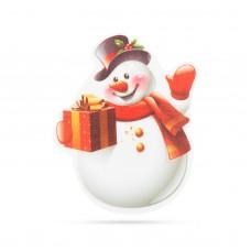 Decoraţie de Crăciun cu LED RGB - autocolant - model om de zăpadă