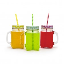 Pahar de sticla, cu capac si pai - 450 ml, 4 culori