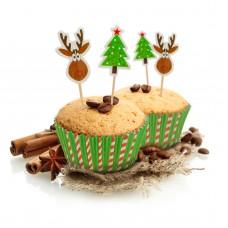 Cosulet muffin din hartie, cu figurine decorative. 24 buc.