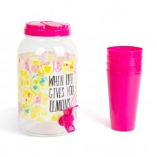 Dozator bauturi cu robinet, cu set pahare plastic, 3,8 l