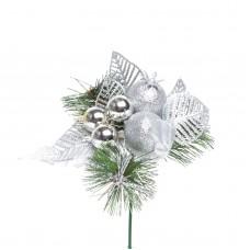 Compoziţie decorativă de Crăciun - 21 cm - Argintiu