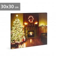 FAMILY POUND - Tablou de Craciun, cu LED - cu agatatoare de perete, 2 x AA, 30 x 30 cm