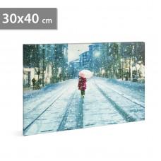 FAMILY POUND - Tablou cu LED - peisaj de iarna, 2 x AA, 30 x 40 cm