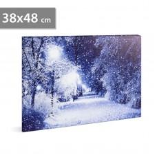 FAMILY POUND - Tablou cu LED - peisaj de iarna, 2 x AA, 38 x 48 cm