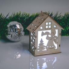 Casuta decorativa de Craciun cu LED - alb cald - lemn - 6 modele - 10 x 4,5 cm