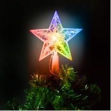 Ornament de pom de Craciun, model stea, 10 LED-15 cm, RGB, 2xAA