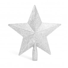 Ornament pt. vârful pomului de Crăciun - model stea - 20x19 cm - argintiu
