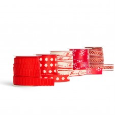Bandă decorativă de Crăciun - 3 m x 10 mm - poliester - roşu - 20 buc. / display