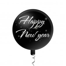 "Balon decorativ model ""Happy New Year"" - 45 cm - gri"