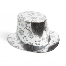 Pălărie party - argintiu lucios - 27 x 14 cm