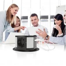 Prelungitor de birou camuflat cu 3 prize și ieșiri USB