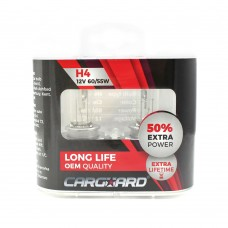 CARGUARD - Set de 2 becuri Halogen H4, 55W, +50% Intensitate - LONG LIFE