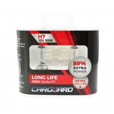 CARGUARD - Set de 2 becuri Halogen H7, 55W, +50% Intensitate - LONG LIFE