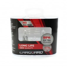 CARGUARD - Set de 2 becuri Halogen 24V -  H3, 70W, +50% Intensitate - LONG LIFE