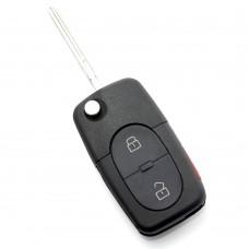 CARGUARD - Audi - carcasă cheie tip briceag cu 2+1 butoane (1 buton de panică) și baterie 1616