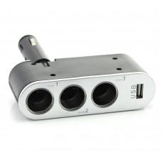 Priza tripla pentru bricheta auto + USB 1A