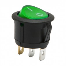 Interupator basculant, 1 circuit, 6A-250V ON-OFF, lumina verde