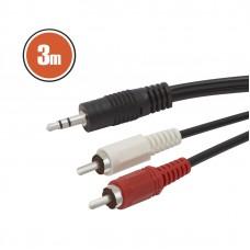 Cablu RCA / JACKfisa 2 x RCA-fisa 3,5 st JACK3,0 m