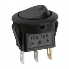 Interupator basculant 1 circuit 16A-12VDC OFF-ON, cu LED rosu