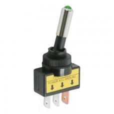 Intretupator cu 2 pozitii OFF-ON, 1 circuit, iluminat cu bec verde de 12 V, negru 20A-12VDC