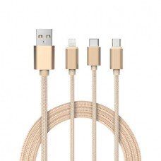 Cablu date USB Smart Cable 3 in 1 micro-USB, type C, iphone 7 Gold